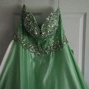 Long strapless sparkly dress